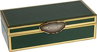 Sagebrook Home Decorative Wood & Glass Storage Box W/Agate, Green, 11x5.25x3.25