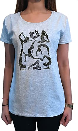 Irony Womens T-Shirt Yoga Meditation Poses Enthusiast Print TS1625 Grey