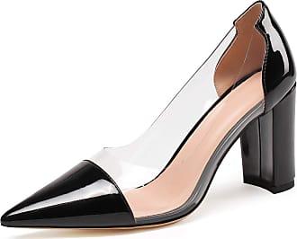 EDEFS Womens Pointed Toe Block Heel Court Shoes Transparent Chunky Heel Pmps Black EU45/UK10.5