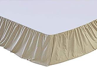 VHC Brands Farmhouse Prairie Winds Ticking Stripe Tan Bed Skirt, King