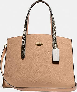 Coach Charlie Carryall With Colorblock Snakeskin Detail in Beige
