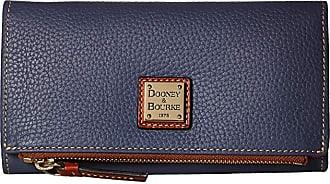 Dooney & Bourke Pebble Fold-Over Wallet (Midnight Blue/Tan Trim) Wallet Handbags