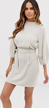 Asos Mini-Leinenkleid mit Bindegürtel-Cremeweiß