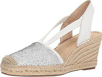 Anne Klein Womens Abbey Espadrille Wedge Sandal, White/Multi Synthetic, 9 M US