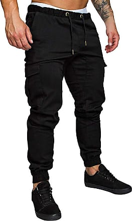 TOMWELL Mens Cargo Trousers Slim Fit Jeans Combat Skinny Elasticated Waist Drawstring Chinos Pants Slack Bottoms M-3Xl Black X-Large