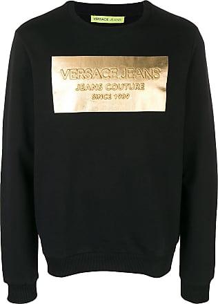 10d32463 Versace Jeans Couture metallic logo print hoodie - Black