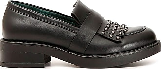 Cafènoir Cafè Noir HEA145 Leather Loafer with Fringe and Studs Red Size: 3 UK