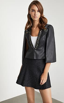 BCBGeneration Embroidered Faux Leather Cape Top