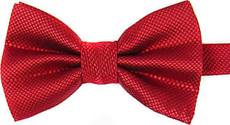 Sanwood Mens Plain Polyester Pre Tied Wedding Bow Tie Party (Red)
