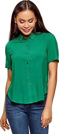 oodji Womens Short Sleeve Viscose Blouse, Green, UK 6 / EU 36 / XS