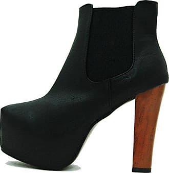 7f825d97ac1353 Kayla Shoes Plateau Chelsea Boots Holzabsatz Optik (41