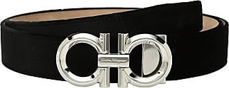Salvatore Ferragamo Adjustable Rodium Double Gancini with Velvet Strap (Nero) Mens Belts