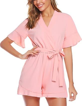 Abollria Playsuits for Women Elegant V-Neck Tie Waist Boho Casual Short Romper Jumpsuit Pink