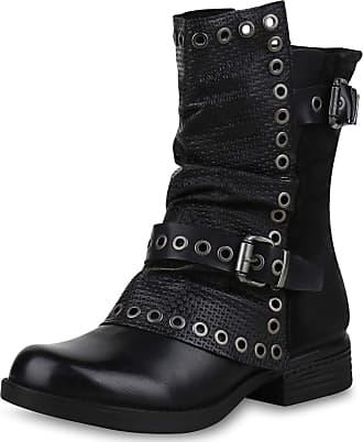 Scarpe Vita Women Bootee Biker Boots Lightly Lined Eyelets Prints 171170 Black UK 4 EU 37