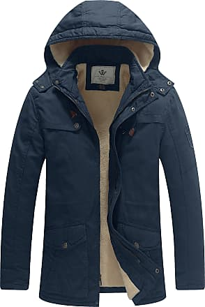 WenVen Mens Padded Cotton Military Jacket with Hood Navy Small