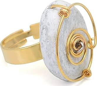 Tinna Jewelry Anel Dourado Espiral E Resina Oval