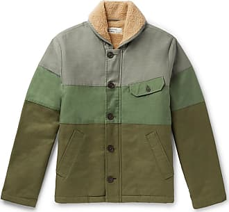 Universal Works N1 Shawl-collar Faux Shearling-lined Striped Canvas Jacket - Green