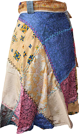 Gheri Wrap Around Sarong Patchwork Stitch Long Hippie Boho Skirt Short