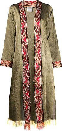 Forte_Forte geometric-trimmed oversized coat - Green