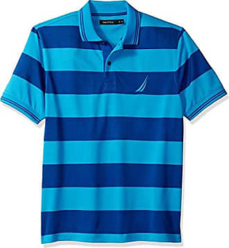 Nautica Mens Performance Wicking and Stain Resistant Stripe Polo Shirt, Bright Blue jig, Large