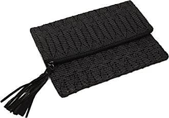ále by Alessandra Womens La Pluma Vegan Leather Clutch, Black, One Size