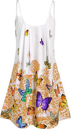 FNKDOR Summer Womens Ladies Concert Drama Elegant Animal Logo Casual Lace Butterfly Sleeveless Vest Shirt Tank Blouse Tunic Tops(Yellow,UK-24/CN-3XL)