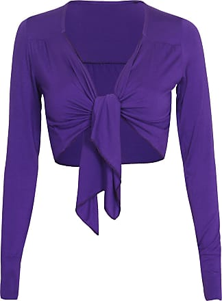 Purple Hanger Womens Long Sleeve Ladies Front Open Tie Fastening Bolero Shrug Stretch Cropped Cardigan Top Purple Size 16 (L/Xl)