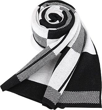 Insun Mens Extra Long Soft Tartan Colorblock Wool Winter Scarf Black
