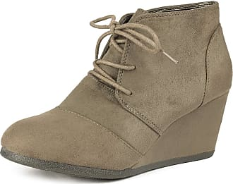 Dream Pairs Tomson Womens Casual Fashion Outdoor Lace Up Low Wedge Heel Booties Shoes Taupe Size 7.5 M US / 5.5 UK