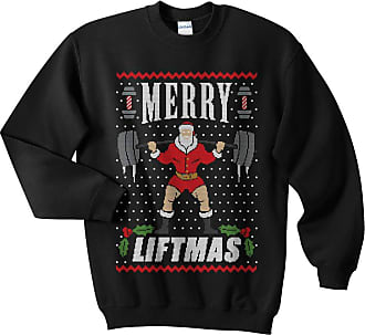 Sanfran Clothing Sanfran - Merry Liftmas Top Christmas Xmas Weightlifting Gym Ugly Jumper Sweater - Double Extra Large/Black