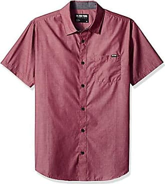 Zoo York Mens Short Sleeve Woven, Above The Above The Rail Merlot Large