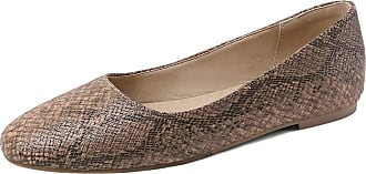 Mediffen Womens Concise Round Toe Casual Slip On Snakeskin Flats Apricot Size 34 Asian