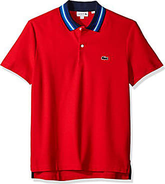 7205269c Lacoste Mens Holiday Short Sleeve Slubbed Pique Polo-Regular Fit, Cherry  Red/Multi