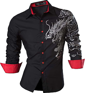 Jeansian Mens Fashion Shirts Long Sleeves Dress Slim Fit Casual Tops Button Down Z037 Black XXL