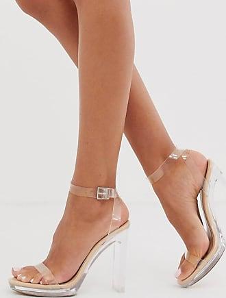 Public Desire Steal - Beige Sandalen mit transparenter Plateausohle