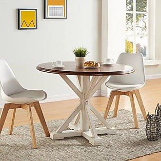 Southern Enterprises Barrisdale Farmhouse Dining Table - Antique White Pedestal Legs w/ Dark Tobbaco Top