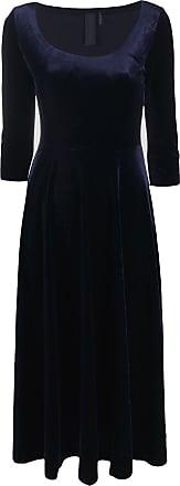 Norma Kamali Vestido gola U de veludo - Azul