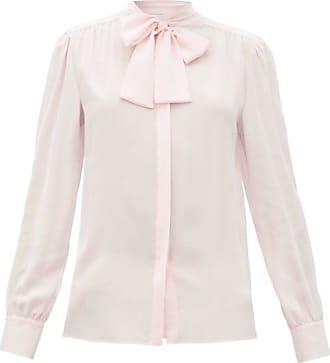 Giambattista Valli Pussy-bow Silk-crepe Blouse - Womens - Light Pink