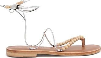 ÁLVARO GONZÁLEZ Akaiah Beaded Wraparound Metallic-leather Sandals - Womens - Silver