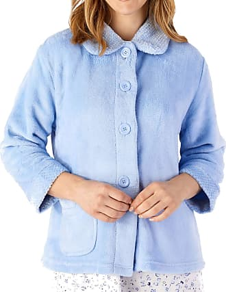 Slenderella Womens Button Up Coral Fleece Bed Jacket Housecoat with Waffle Detail - Medium (Blue)