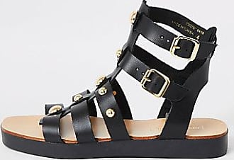0958be50dca51 River Island Womens Black leather studded gladiator sandals