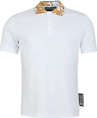 Versace Mens Baroque Collar Polo Shirt L White