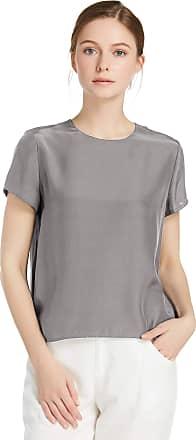 LilySilk Womens Charmeuse Silk T Shirt Tunic Blouse Top Ladies Short Sleeve 22 Momme Pure Silk (XL/18, Dark Grey)