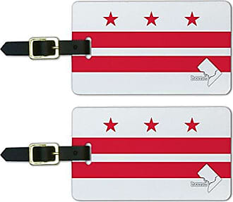 Graphics & More Graphics & More Washington D.c. Dc Home State Luggage Suitcase Id Tags-Flag, White