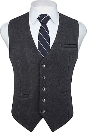 Hisdern Hisdern Mens Formal Wedding Party 5 Buttons Wool Waistcoat Solid Dress Suit Vest Waistcoats, Charcoal, M(Chest 41 inch)