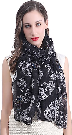 Lina & Lily Candy Skull Print Womens Large Scarf (Black)(Size: 180 X 90 cm)