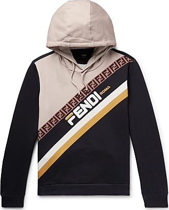 65893517 Fendi Logo-appliquéd Fleece-back Cotton-jersey Hoodie - Black