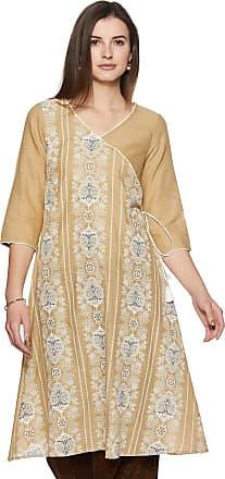 Aurelia Womens Cotton A-Line Kurta (19FEA10567-500538_ Natural_ Large)