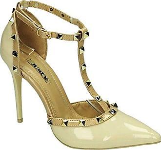 e350e12ed1acdb King Of Shoes Elegante Damen Riemchen Abend Sandaletten High Heels Pumps  Lack Stilettos Schuhe GH (