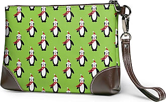 GLGFashion Womens Leather Wristlet Clutch Wallet Merry Christmas Penguin Storage Purse With Strap Zipper Pouch